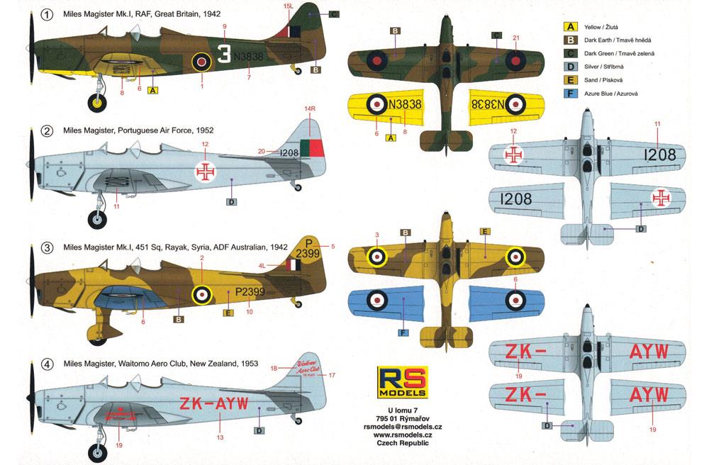 マイルズ マジスター イギリス 練習機プラモデル(RSモデル1/72 エアクラフト プラモデルNo.92236)商品画像_1