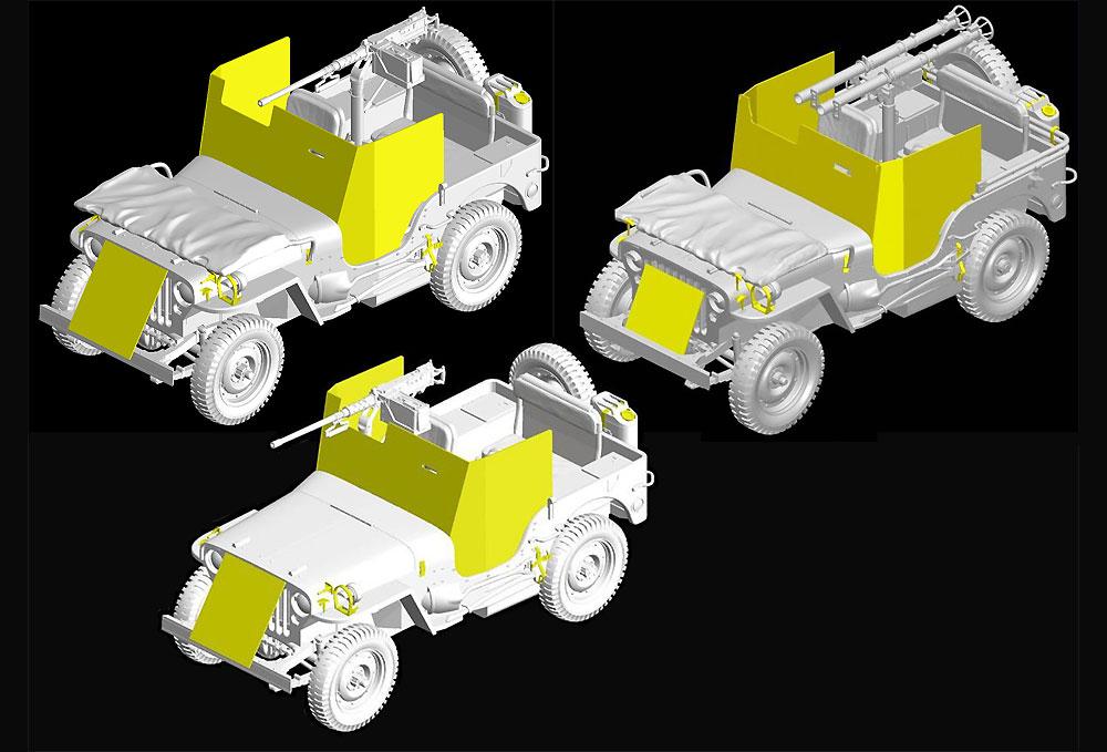 アメリカ 1/4トン 4×4 装甲トラック キャリバー50 機関銃付き 3in1プラモデル(ドラゴン1/35 '39-'45 SeriesNo.6727)商品画像_3