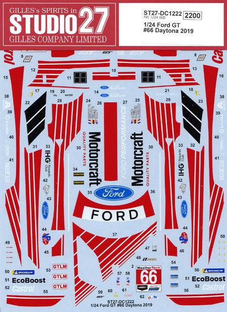 フォード GT #66 デイトナ24時間 2019 デカールデカール(スタジオ27ツーリングカー/GTカー オリジナルデカールNo.DC1222)商品画像