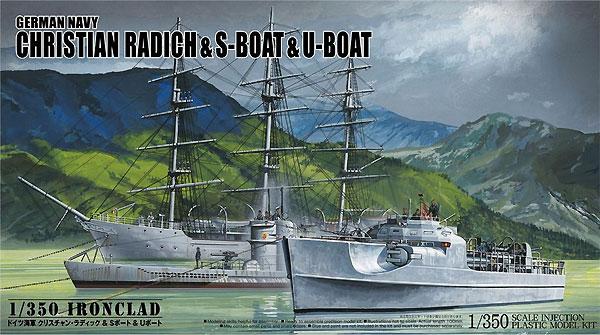 ドイツ海軍 クリスチャン ラディック & Sボート & Uボートプラモデル(アオシマ1/350 アイアンクラッドNo.4905083056578)商品画像