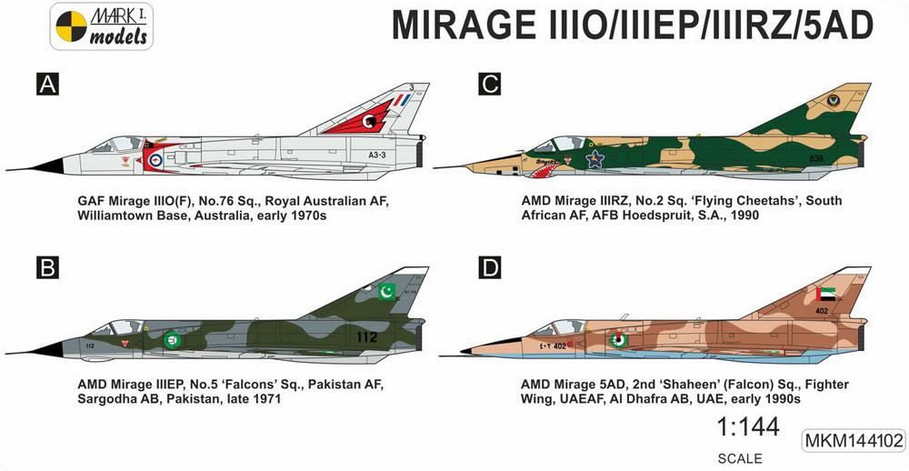 ミラージュ 3O/3EP/3RZ/5ADプラモデル(MARK 1MARK 1 modelsNo.MKM144102)商品画像_1