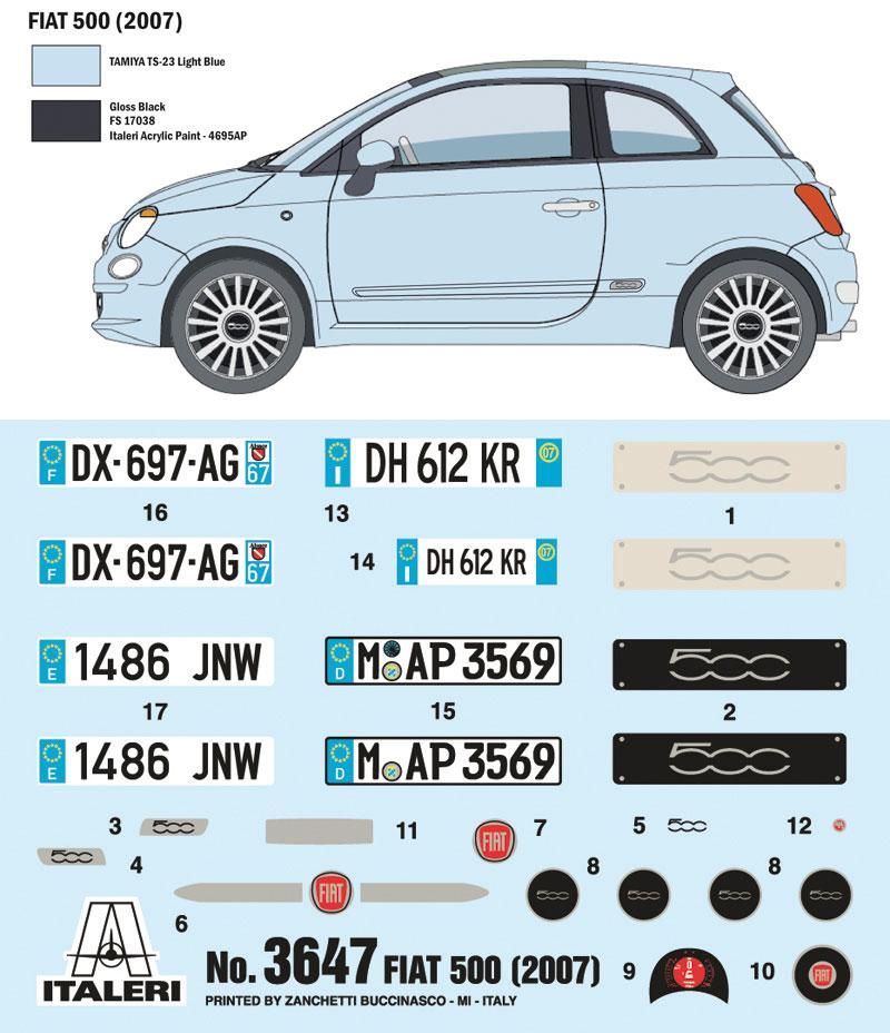 フィアット 500 2007 日本語説明書付きプラモデル(イタレリ1/24 カーモデルNo.3647)商品画像_1