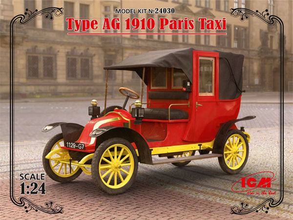 ルノー タイプ AG 1910年 パリ タクシープラモデル(ICM1/24 カーモデルNo.24030)商品画像