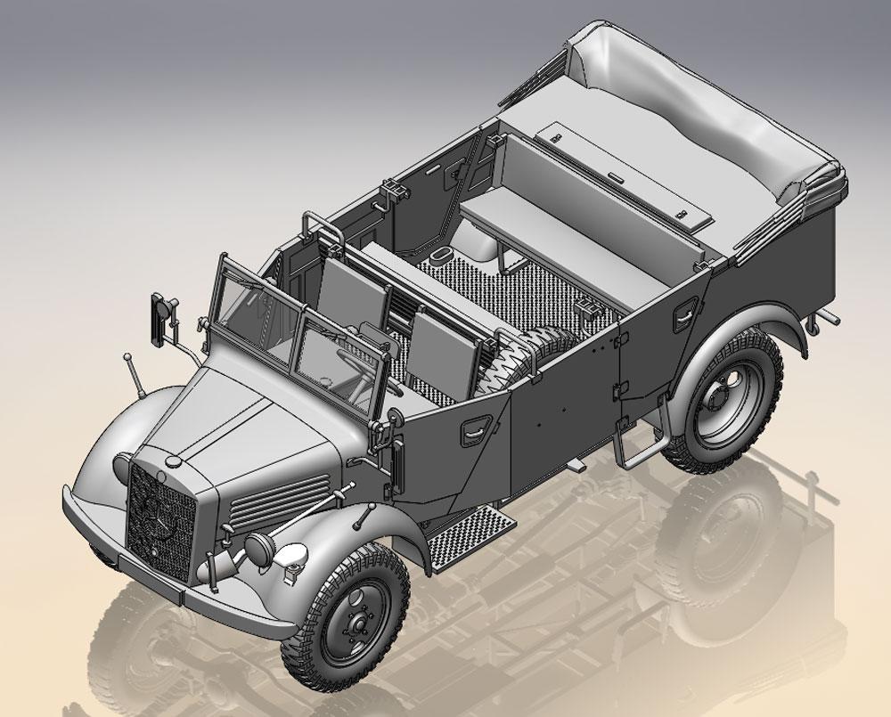 ドイツ国防軍 オフロード車両セット (Kfz.1、ホルヒ108 Typ40、L1500A)プラモデル(ICMダイオラマセットNo.DS3503)商品画像_4