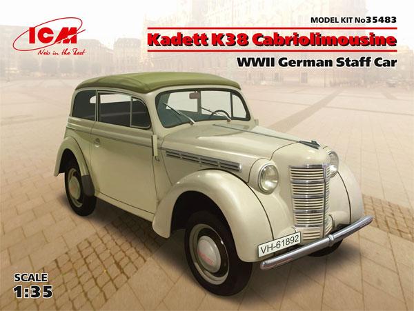 ドイツ オペル カデット K38 カブリオレ スタッフカープラモデル(ICM1/35 ミリタリービークル・フィギュアNo.35483)商品画像