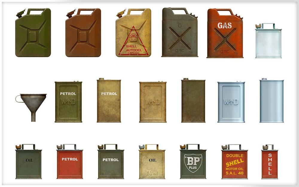 連合国 ジェリ缶セット WW2プラモデル(ミニアート1/35 ビルディング&アクセサリー シリーズNo.35587)商品画像_2