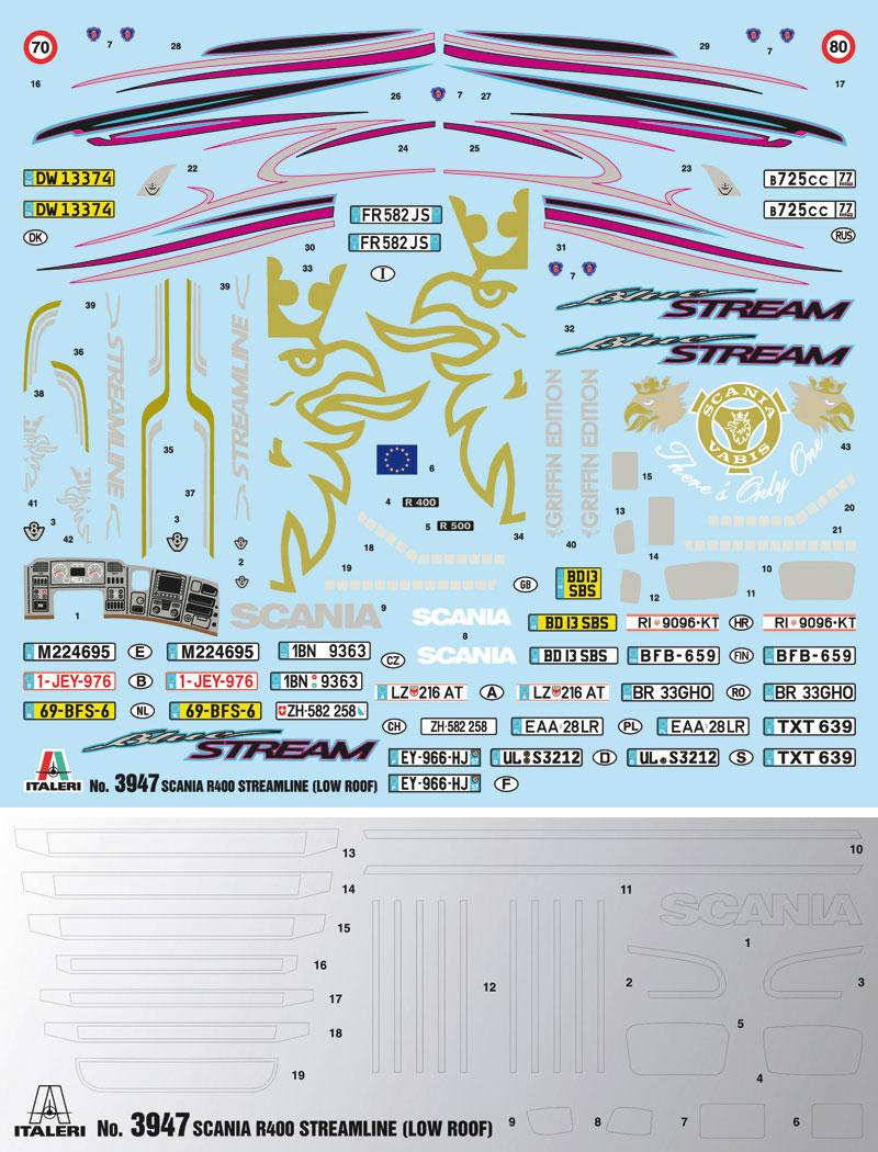 スカニア R400 ストリームライン トラクターヘッド フラットルーフプラモデル(イタレリ1/24 トラックシリーズNo.3947)商品画像_1