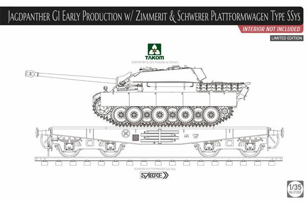 ドイツ 重駆逐戦車 Sd.Kfz.173 ヤークトパンター G1 前期型 w/ツィンメリットコーティング & 重平貨車 Ssysプラモデル(タコム1/35 ミリタリーNo.2125X)商品画像