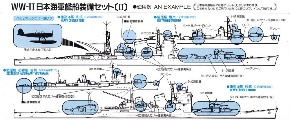 WW2 日本海軍艦船装備セット 2 真ちゅう製 20.3cm砲身 6本付きプラモデル(ピットロードスカイウェーブ E シリーズNo.E005B)商品画像_1