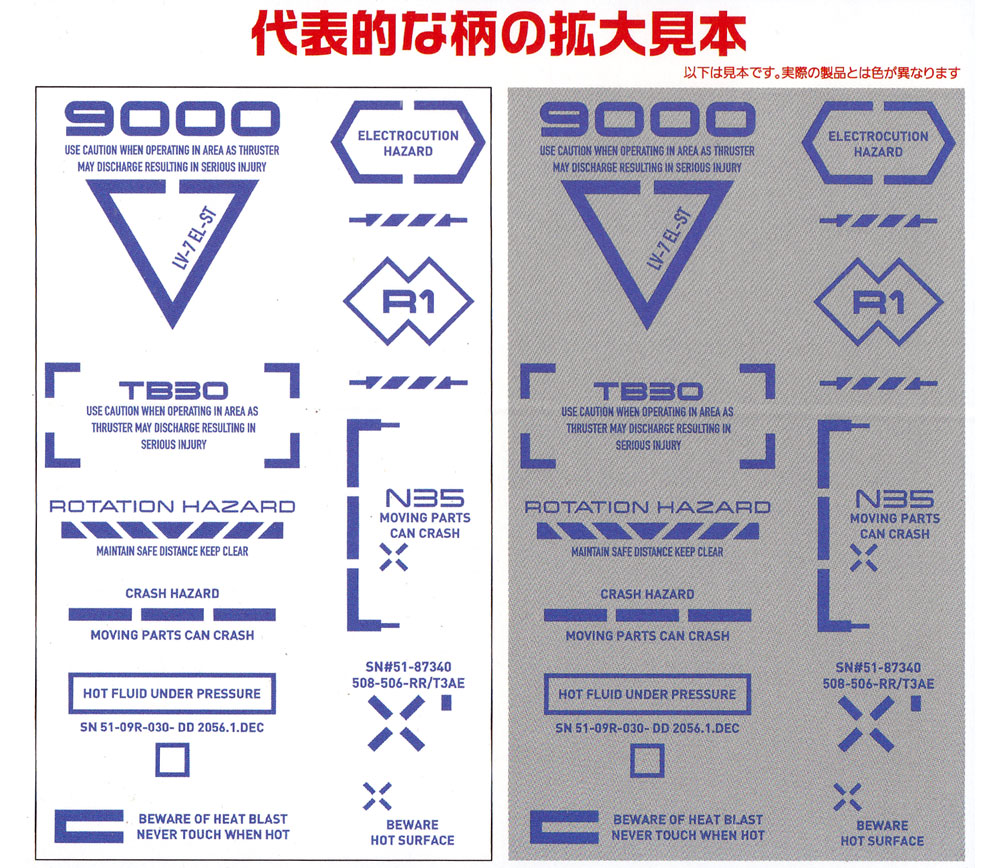 1/100 RB コーションデカール 02 ワンカラー ブルーデカール(HIQパーツデカールNo.RB02-100BLU)商品画像_2