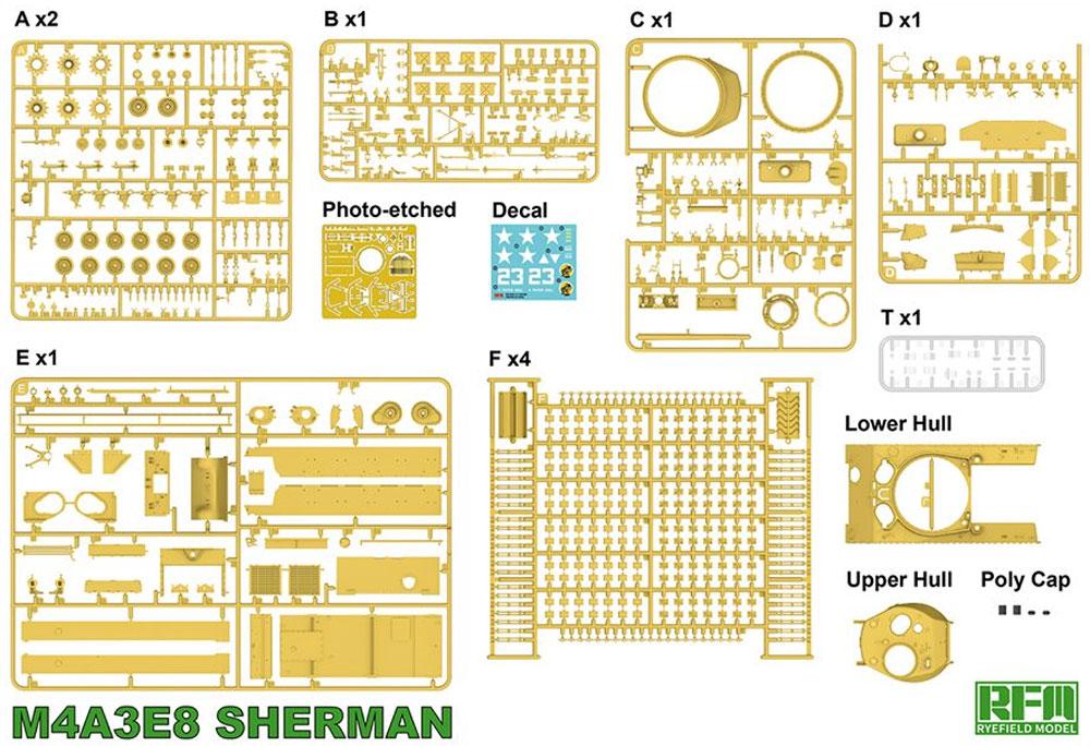 アメリカ中戦車 M4A3E8 シャーマン イージーエイト w/可動式履帯プラモデル(ライ フィールド モデル1/35 Military Miniature SeriesNo.5028)商品画像_1