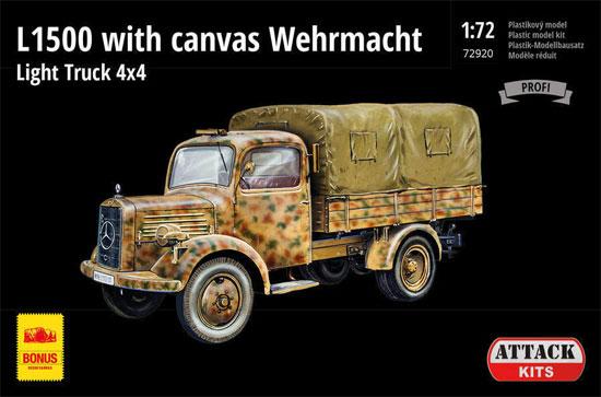 ドイツ軍 L1500 4x4 軽カ-ゴトラック w/キャンバス製幌プラモデル(アタック1/72 AFV シリーズNo.72920)商品画像