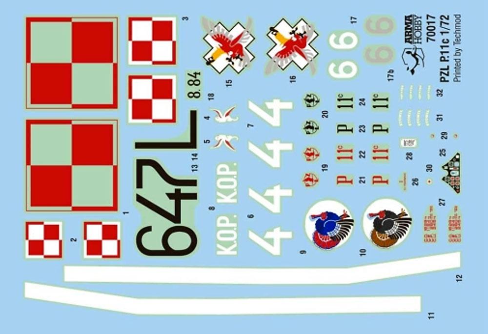 PZL P.11c 東部国境地帯プラモデル(アルマホビー1/72 エアクラフト プラモデルNo.70017)商品画像_2