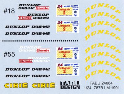 マツダ 787B ル・マン 1991 オプションデカールデカール(タブデザイン1/24 デカールNo.TABU-24084)商品画像