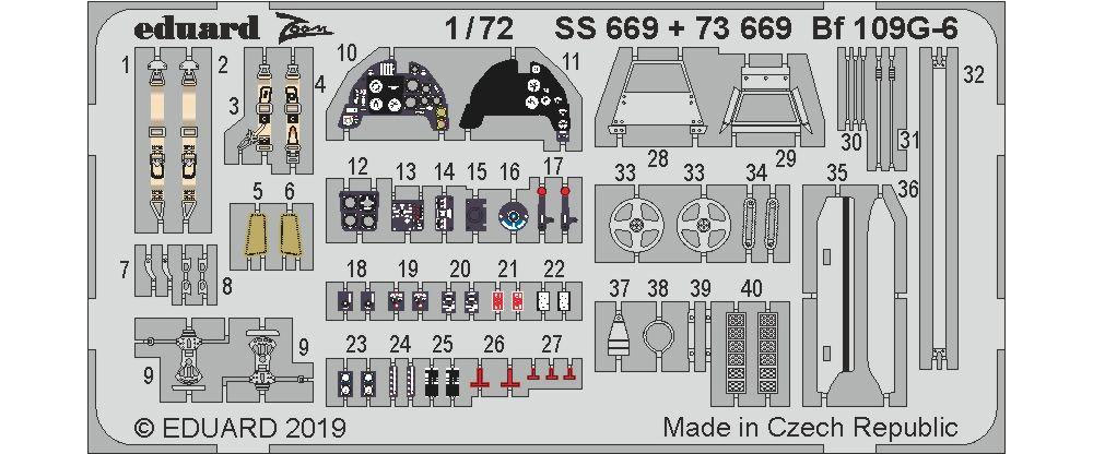 Bf109G-6 エッチングパーツ (タミヤ用)エッチング(エデュアルド1/72 エアクラフト用 カラーエッチング (73-×)No.73669)商品画像_1
