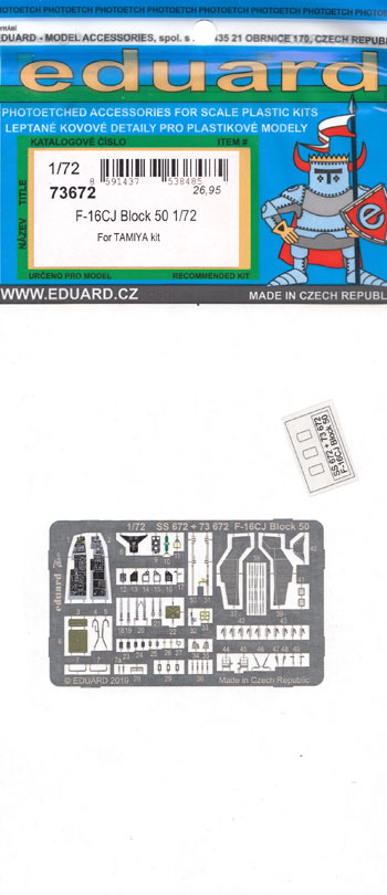 Eduard Accessories SS672-1:72 F-16CJ Block 50 for Tamiya