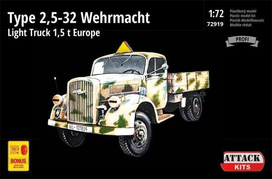 ドイツ軍 タイプ 2.5-32 1.5トン トラック ヨーロッパ戦線プラモデル(アタック1/72 AFV シリーズNo.72919)商品画像