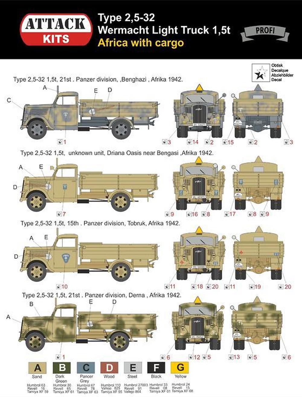 ドイツ軍 タイプ 2.5-32 1.5トン トラック アフリカ戦線プラモデル(アタック1/72 AFV シリーズNo.72921)商品画像_2