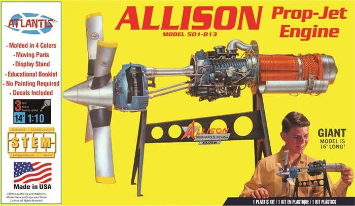 アリソン ターボプロップ ジェットエンジン MODEL501-013プラモデル(アトランティスプラスチックモデルキットNo.H1551)商品画像