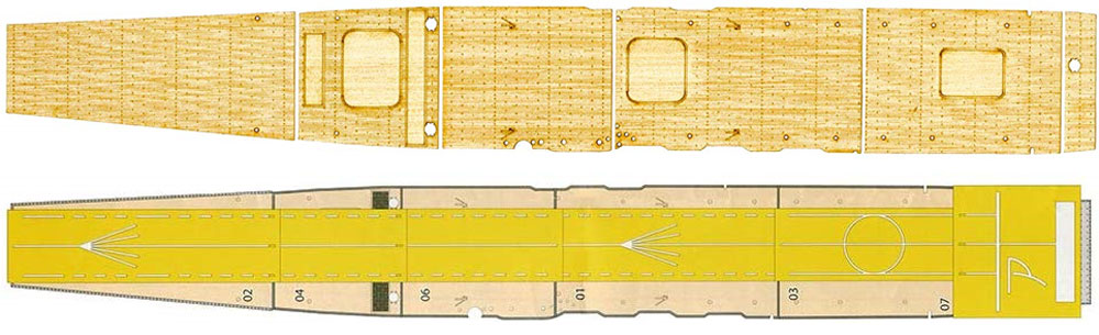 日本海軍 航空母艦 赤城 木甲板シール w/艦名プレート木甲板(フジミ艦船模型用グレードアップパーツNo.艦NEXT004EX-001)商品画像_2