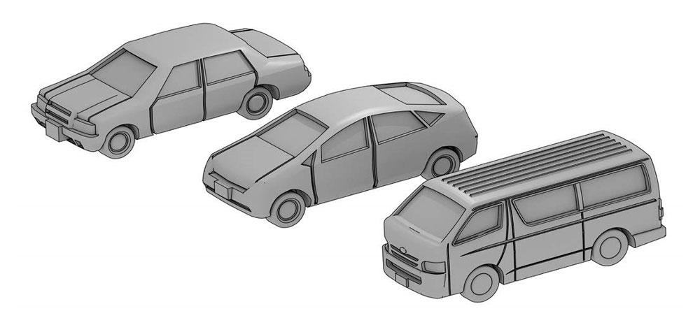 自動車セット A (乗用車3種セット)レジン(モデリウム1/700 TFSシリーズNo.T19V700-010M)商品画像_1