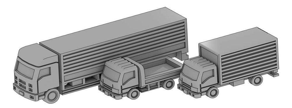 自動車セット B (トラック3種セット)レジン(モデリウム1/700 TFSシリーズNo.T19V700-005M)商品画像_1