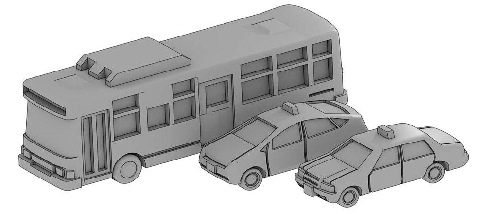 自動車セット C (路線バス、タクシーセット)レジン(モデリウム1/700 TFSシリーズNo.T19V700-006M)商品画像_1