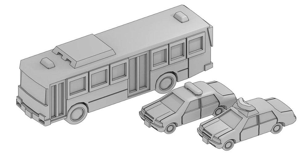 自動車セット D (護送車、パトカーセット)レジン(モデリウム1/700 TFSシリーズNo.T19V700-007M)商品画像_1