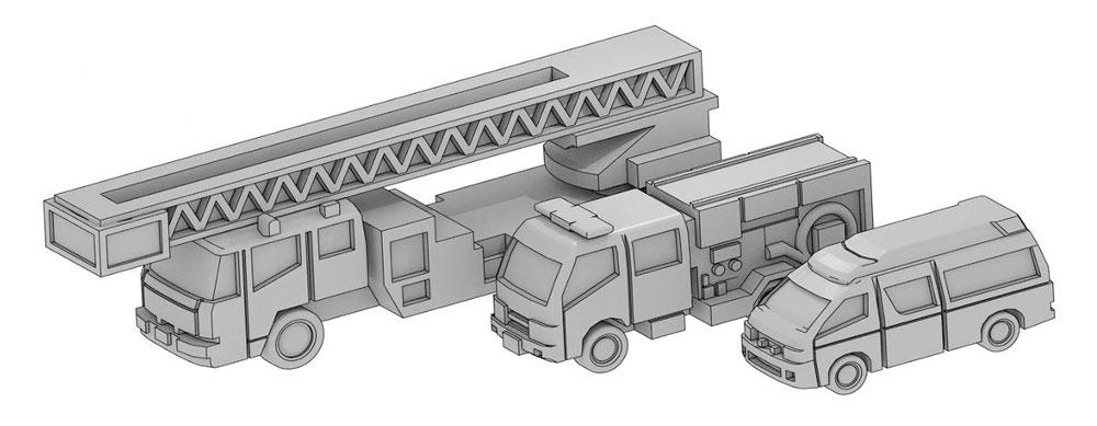 自動車セット E (はしご車、ポンプ車、救急車)レジン(モデリウム1/700 TFSシリーズNo.T19V700-008M)商品画像_1