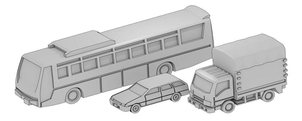 自動車セット F (高速バス、乗用車、トラック幌)レジン(モデリウム1/700 TFSシリーズNo.T19V700-009M)商品画像_1