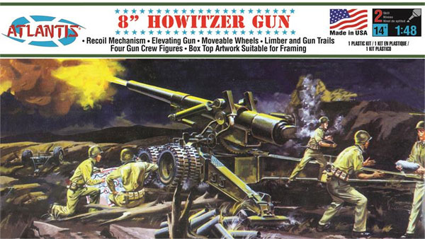 アメリカ陸軍 8インチ榴弾砲 (旧オーロラ)プラモデル(アトランティスプラスチックモデルキットNo.A307)商品画像