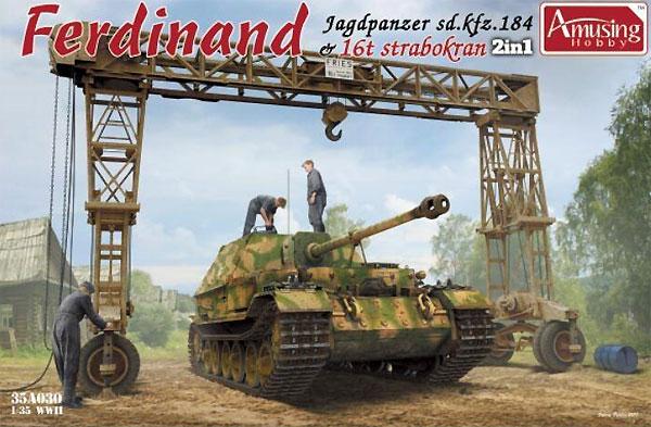 ドイツ 重駆逐戦車 フェルディナント (フルインテリア) & 16t ストラボクレーンプラモデル(アミュージングホビー1/35 ミリタリーNo.35A030)商品画像