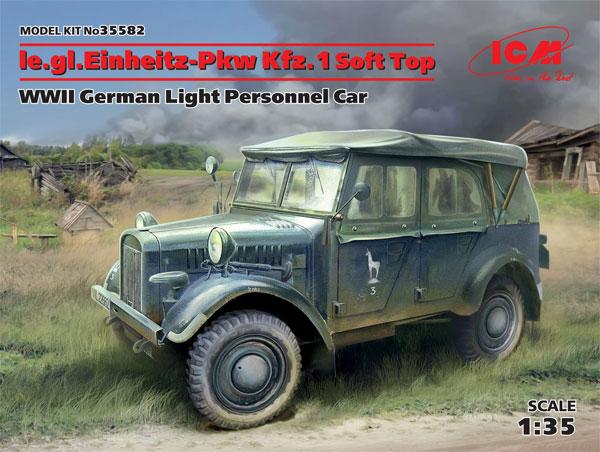 ドイツ le.gl. Pkw Kfz.1 軽四輪駆動乗用車 ソフトトッププラモデル(ICM1/35 ミリタリービークル・フィギュアNo.35582)商品画像