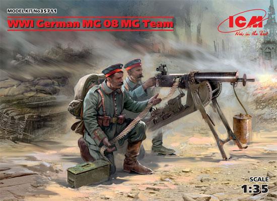 WW1 ドイツ MG08 MGチームプラモデル(ICM1/35 ミリタリービークル・フィギュアNo.35711)商品画像