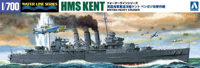 英国海軍 重巡洋艦 ケント ベンガジ攻撃作戦プラモデル(アオシマ1/700 ウォーターラインシリーズNo.056714)商品画像