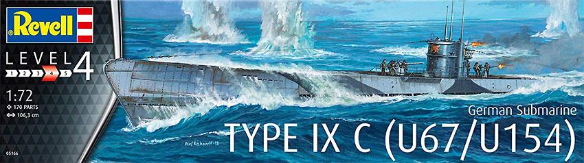 ドイツ潜水艦 Type9C U67/U154プラモデル(レベル1/72 艦船モデルNo.05166)商品画像