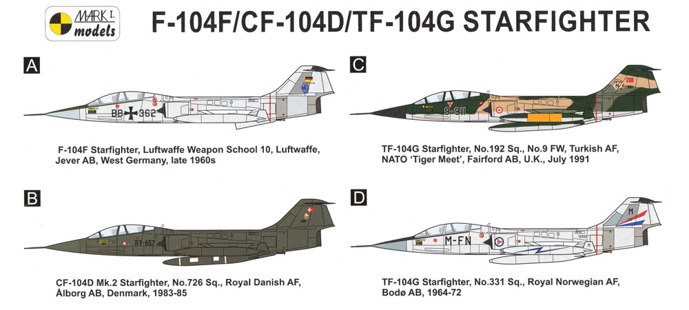 F-104F/CF-104D/TF-104G マッハ 2 トレーナープラモデル(MARK 1MARK 1 modelsNo.MKM144108)商品画像_1