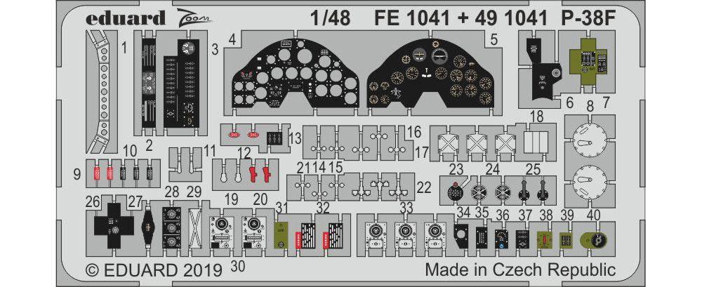 P-38F ズーム エッチングパーツ (タミヤ用)エッチング(エデュアルド1/48 エアクラフト カラーエッチング ズーム (FE-×)No.FE1041)商品画像_1