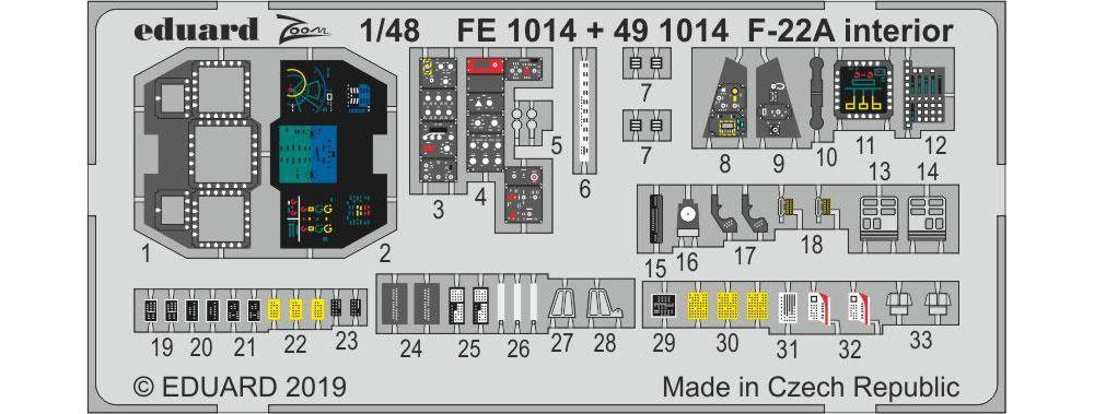 F-22A ラプター インテリア エッチングパーツエッチング(エデュアルド1/48 エアクラフト用 カラーエッチング (49-×)No.491014)商品画像_1