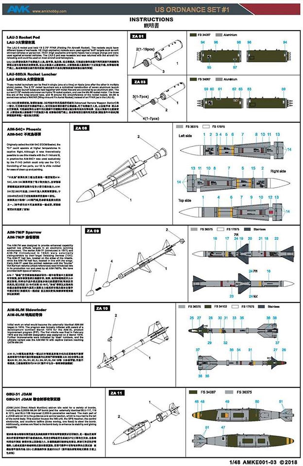 アメリカ 武装セット 1プラモデル(AMK1/48 Aircrafts seriesNo.88E01)商品画像_2