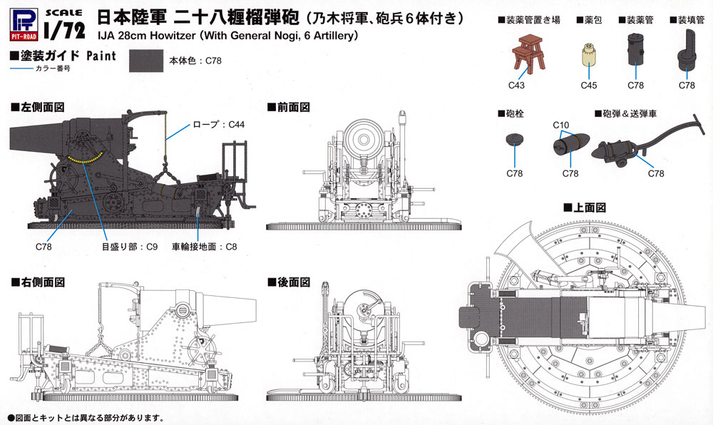 日本陸軍 28糎榴弾砲 乃木将軍、砲兵6体付きプラモデル(ピットロード1/72 スモールグランドアーマーシリーズNo.SG014)商品画像_1
