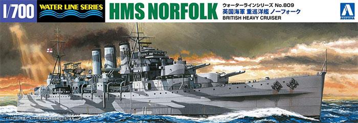 英国海軍 重巡洋艦 ノーフォークプラモデル(アオシマ1/700 ウォーターラインシリーズNo.809)商品画像