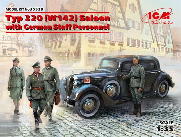 ドイツ Typ320 (W142) スタッフカー w/ドイツ軍スタッフプラモデル(ICM1/35 ミリタリービークル・フィギュアNo.35539)商品画像