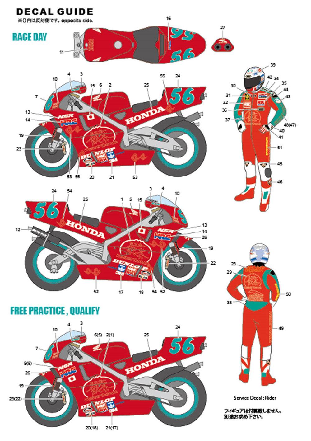 ホンダ NSR500 WGP1994 日本GP #56トランスキット(スタジオ27バイク トランスキットNo.TK1218R)商品画像_3