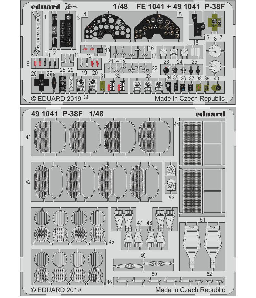 P-38F エッチングパーツ (タミヤ用)エッチング(エデュアルド1/48 エアクラフト用 カラーエッチング (49-×)No.491041)商品画像_1