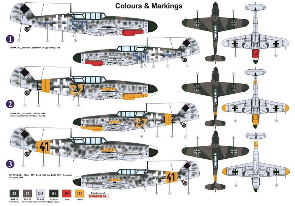 メッサーシュミット Bf109G-12 (G-4ベース型)プラモデル(AZ model1/72 エアクラフト プラモデルNo.AZ7616)商品画像_2