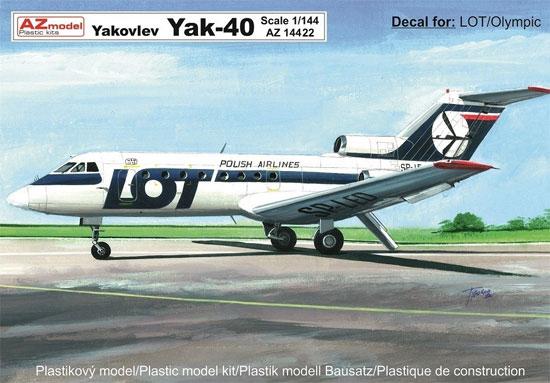 ヤコブレフ Yak-40 旅客機 LOTポーランド航空/オリンピック航空プラモデル(AZ model1/144 Airport (エアライナーなど)No.AZ14422)商品画像