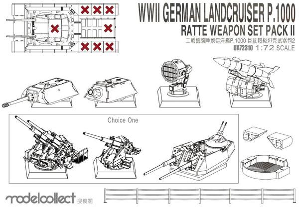 ドイツ 陸上巡洋艦 P.1000 ラーテ用 武装セットプラモデル(モデルコレクト1/72 AFV キットNo.UA72310)商品画像