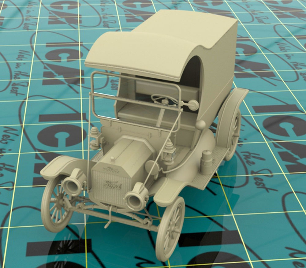 T型フォード 1912 ガソリンデリバリーカー w/配達員プラモデル(ICM1/24 カーモデルNo.24019)商品画像_3