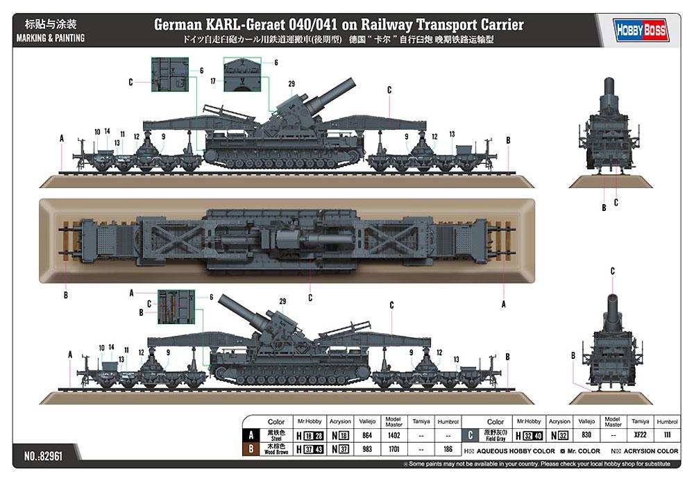 ドイツ 自走臼砲 カール用鉄道運搬車 後期型プラモデル(ホビーボス1/72 ファイティングビークル シリーズNo.82961)商品画像_2